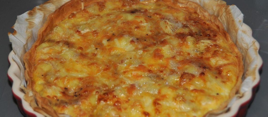 quiche de cebolla y queso brie
